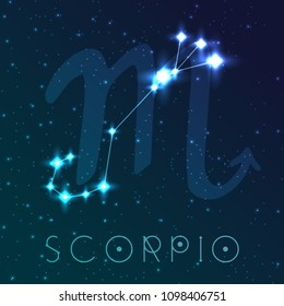 Scorpio zodiac sign. Vector illustration with constellations and hand-drawn astronomical symbols. Shining