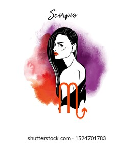 Scorpio. Zodiac signs girl illustration.Vector sketch and watercolor background.