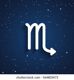 Scorpio zodiac symbol, white zodiac icon on the background of dark blue starry sky