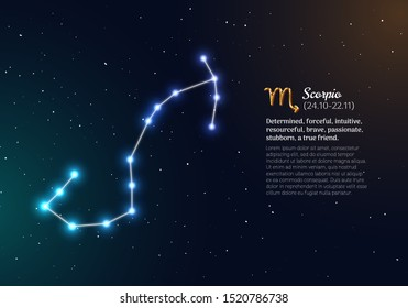 Scorpio zodiacal constellation with bright stars. Scorpio star sign and dates of birth on deep space background. Astrology horoscope with unique positive people personality traits vector illustration.