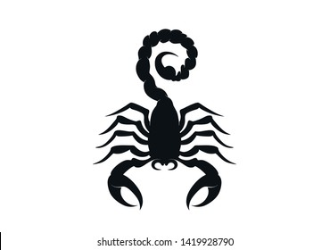 scorpion icon. isolated vector black and white silhouette image of wild animal