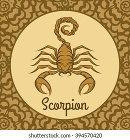 Scorpion label icon. Vector hand drawn logo template