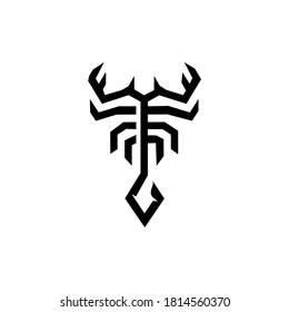 scorpion logo line, abstract, zodiac sign scorpio, tribal tattoo design graphic illustration symbol in trendy outline linear vector
