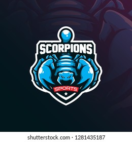 scorpion mascot logo design vector with modern illustration concept style for badge, emblem and t shirt printing. angry scorpion illustration.