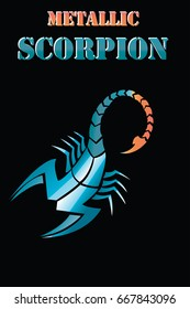 Scorpion metallic vector-tattoo. Astrological icon. The symbol of November - Zodiac. Art tribal coloured design sketch.