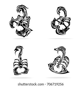 Scorpion set, on white background, illustration, tribal
