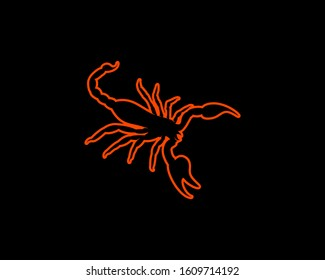 Scorpion Silhouette on Black Background. Isolated Vector Animal Template for Logo, Icon, Symbol etc