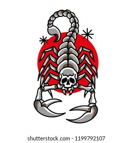 Scorpion with skull in traditional tattoo style. Vector file.