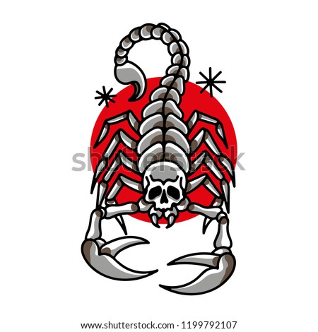 Scorpion Skull Traditional Tattoo Style Vector Stock Vector Royalty