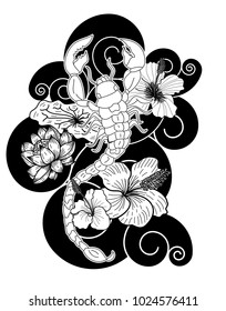 Scorpion tattoo with flower Japanese style.Design For Print a T-Shirt.Hibiscus flower with cherry blossom and lotus tattoo.Zodiac sign of Scorpio.