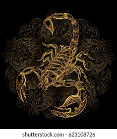 Scorpion tattoo - ornate gold scorpion image on black background, sign horoscope