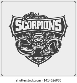Scorpions emblem. Print design for t-shirt. Tattoo design. Sport club emblems.