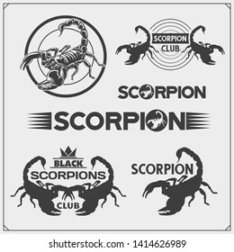 Scorpions emblems, labels, logos and design elements. Silhouettes of a scorpion. Print design for t-shirt. Tattoo design. Sport club emblems.