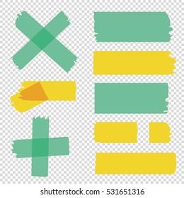 Scotch tape pieces set. Vector Illustration