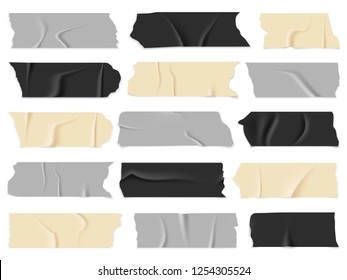 Scotch tape. Transparent adhesive tapes, sticky pieces. Isolated vector illustration set