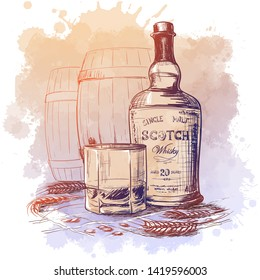 Scotch whiskey bottle, glass and casks with some barley ears and grains. Sketch style drawing isolated on watercolor textured background. EPS10 vector illustration.