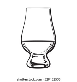 Scotch whiskey, rum, brandy nosing glass, sketch style vector illustration isolated on white background. black and white hand drawing of nosing glass for whiskey, scotch, brandy