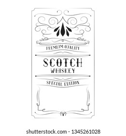 Scotch whiskey vintage label for bottle with lettering. Hand drawn alcohol frame typography border.