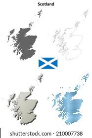 Scotland blank detailed outline map set - vector version
