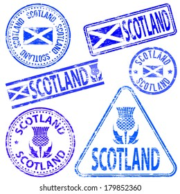 Scotland different shaped rubber stamp vector illustration