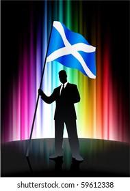 Scotland Flag with Businessman on Abstract Spectrum Background Original Illustration