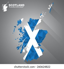 Scotland flag overlay on Scotland map with polygonal and long tail shadow style (EPS10 art vector)