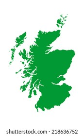 Scotland green vector map silhouette isolated on white background. High detailed illustration.