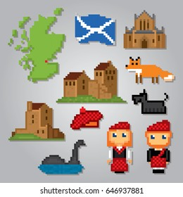 Scotland icons set. Pixel art. Old school computer graphic style. Games elements.