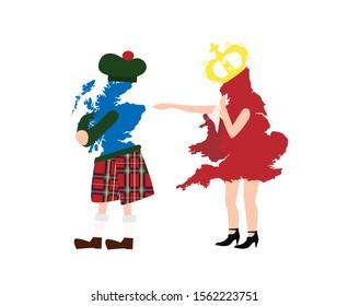 Scotland leaving UK, Scotland exit Great Britan. Caricature.