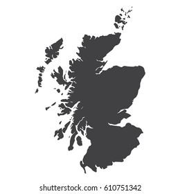 Scotland map in black on a white background. Vector illustration