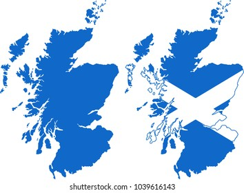Scotland map (blank and flag map)