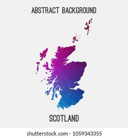 Scotland map in geometric polygonal,mosaic style.Abstract tessellation,modern design background,low poly. Geometric cover, mockup. Vector illustration.