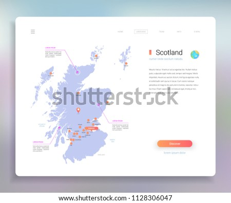 Scotland Map Infographics Vector Template Cities Stock Vector
