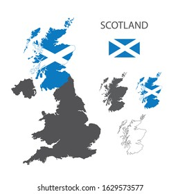 Scotland map as a part of Great Britain. Flag of Scotland. Contur map.