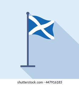 Scotland national flag on flagpole. Flat icon of Scottish state banner. Vector illustration in EPS8 format.