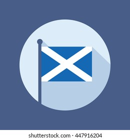 Scotland national flag on flagstaff. Flat icon of Scottish state banner. Vector illustration in eps8 format.