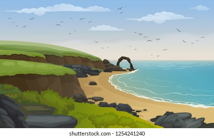 Scotland sea coast landscape vector background. Sandy beach with rocks and cliffs.
