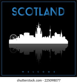Scotland, skyline silhouette vector design on parliament blue and black background.