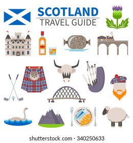 Scotland travel icons set with culture and traditions symbols flat isolated vector illustration