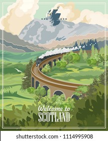 Scotland travel vector in modern style. Scottish landscapes