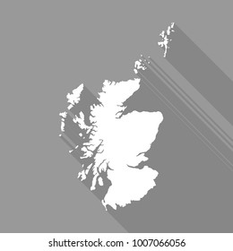Scotland white map,border flat simple style with long shadow on gray background