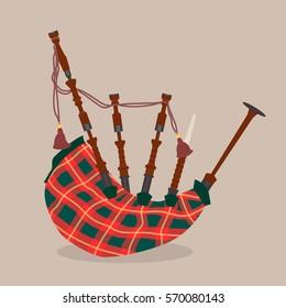 Scottish bagpipe. Vector illustration.