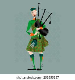 Scottish Bagpiper in uniform. Scottish tradition. Vector illustration