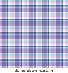 Scottish cell blue, violet, white seamless pattern, colorful background, english style.Geometric background