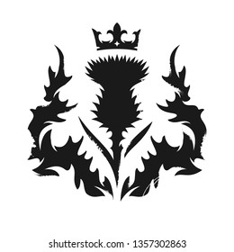 Scottish crowned thistle, heraldic symbol with stencil effect