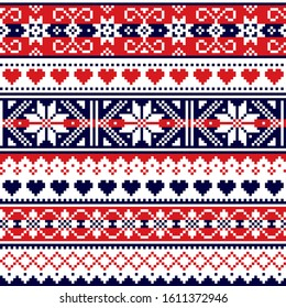 Scottish Fair Isle style traditional knitwear vector seamless pattern, retro Shtelands knit repetitive design with snowflakes and hearts. Retro textile folk art background