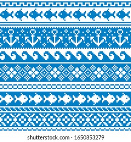 Scottish Fair Isle style traditional knitwear vector seamless pattern, marine style design with anchors, fish, and sea or ocean waves. Retro textile folk art blue background