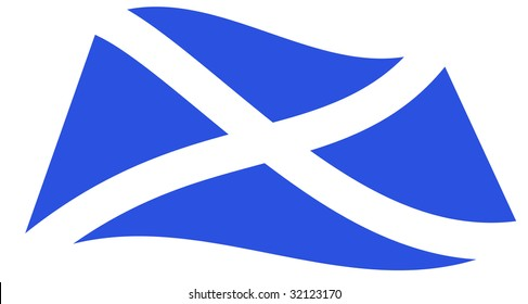 Scottish flag, Saltire, cross of St. Andrew perspective Vector.