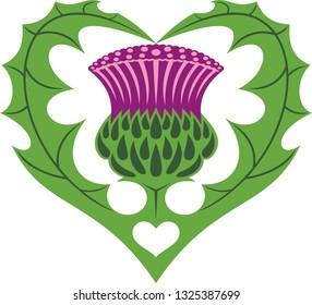 Scottish Heart & Thistle. Vector tattoo