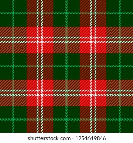 Scottish pattern in black, red and green cage. Scottish cage. Christmas and new year tartan plaid.  Traditional Scottish checkered background. Fabric texture. Vector illustration